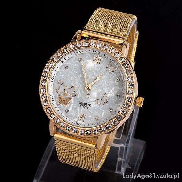 Zegarek złoty damski motyle hit bloger
