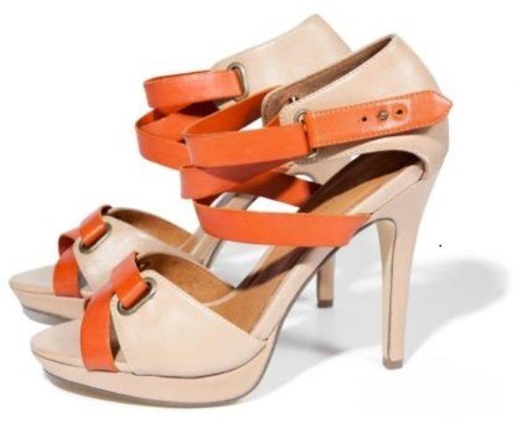 sandały reserved szpilki pomarańczowo beżowe...