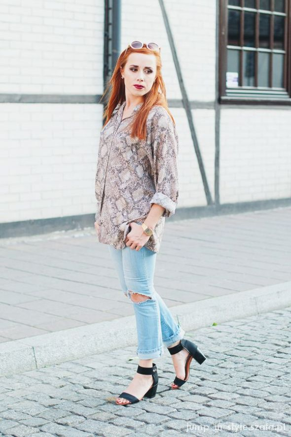 Blogerek snake print&ripped jeans