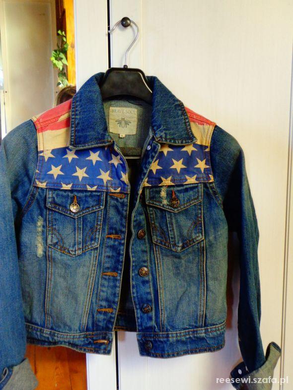 Odzież wierzchnia Jeansowa kurtka S 36 Brave Soul flaga USA jeans