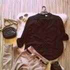 STYLIZACJA czarne szpilki asymetryczna koszula