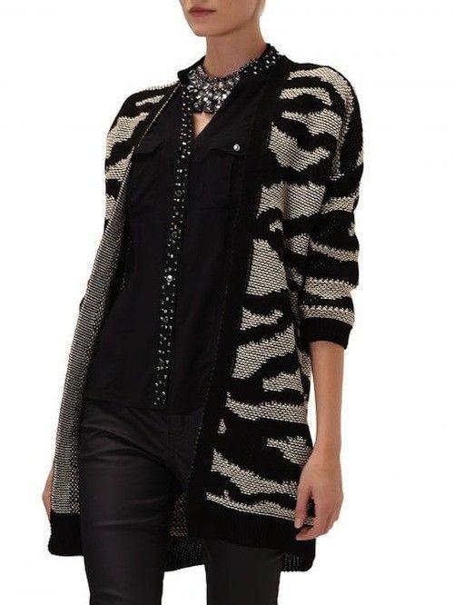 Sweter Kardigan w zebrę reserved...