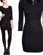 Czarna sukienka H&M tłoczony wzór