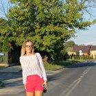 White sweater & impress heels