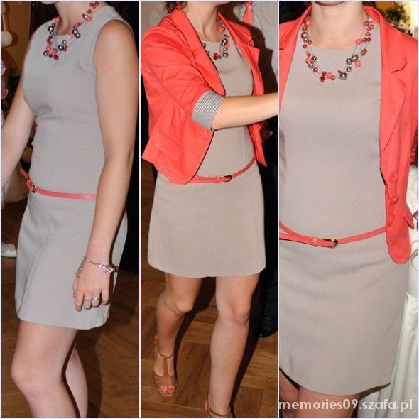 Eleganckie beżowa sukienka i koralowe dodatki