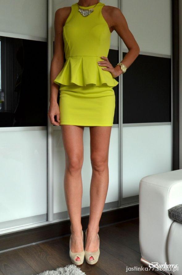 f666ed8f15 Sukienka neonowa neon wesele żółta baskinka 36 38 w Suknie i ...