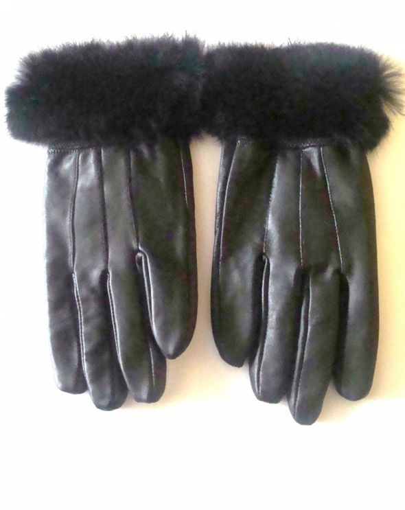 Rękawiczki czarne z futerkiem