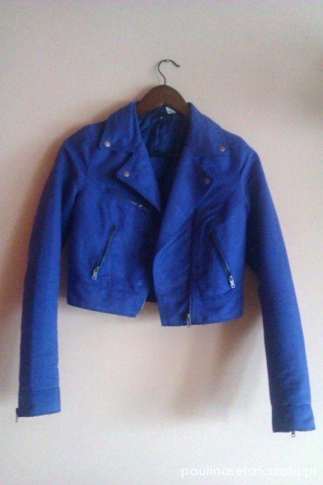 kobaltowa kurtka h&m ramoneska...
