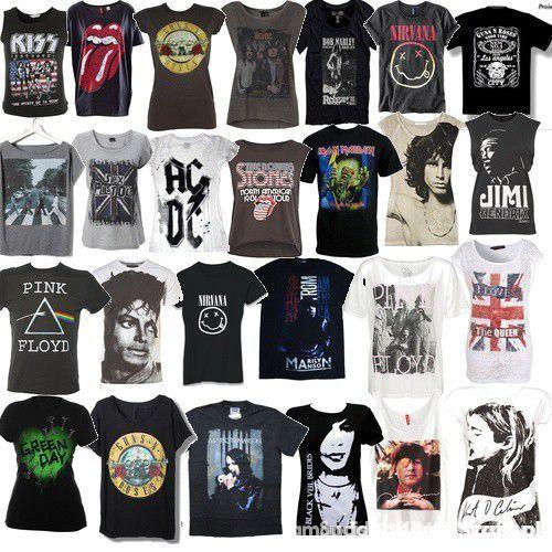 Ubrania Koszulki z rockowymi lub metalowymi zespołami