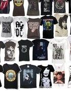 Koszulki z rockowymi lub metalowymi zespołami