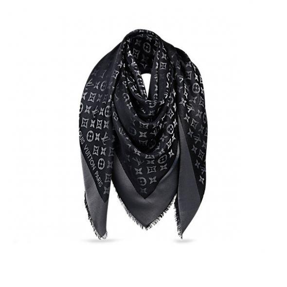 Chusty i apaszki Szal Louis Vuitton czarny z srebrną nitką