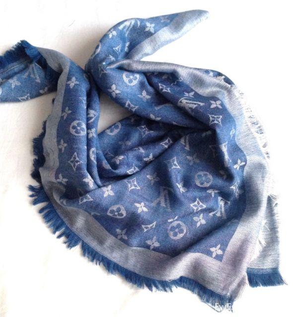 Chusty i apaszki Chusta Louis Vuitton Niebieska
