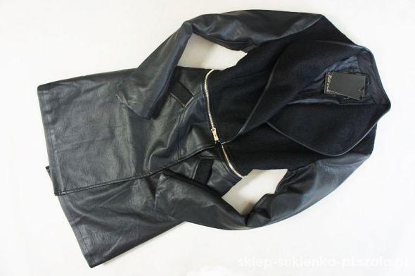 Odzież wierzchnia MISS skórzany czarny płaszcz model 3w1