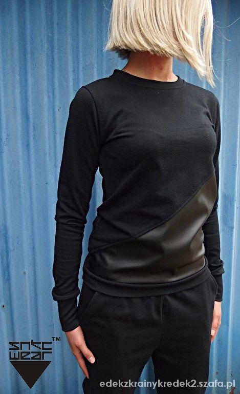 Sportowe czarny bawełniano skórzany dres nike air max