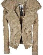 Kożuszek XS S beżowy jasno brązowy