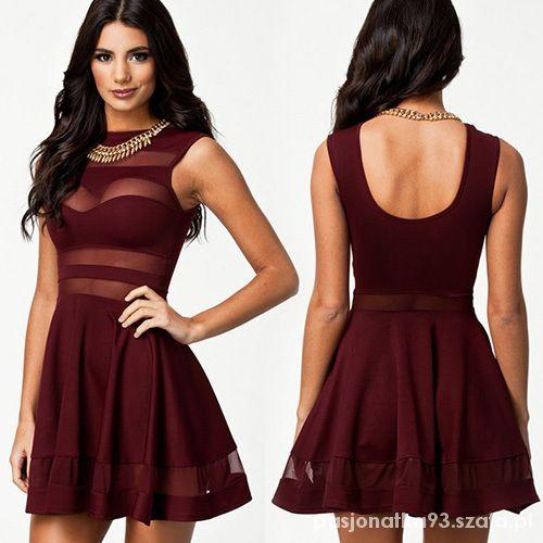 c8950e03f Sukienka mini bordowa rozkloszowana siatka sexy w Suknie i sukienki ...