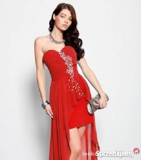 313d1f7792 Sukienka asymetryczna malinowa PIĘKNA rozmiar M w Suknie i sukienki ...