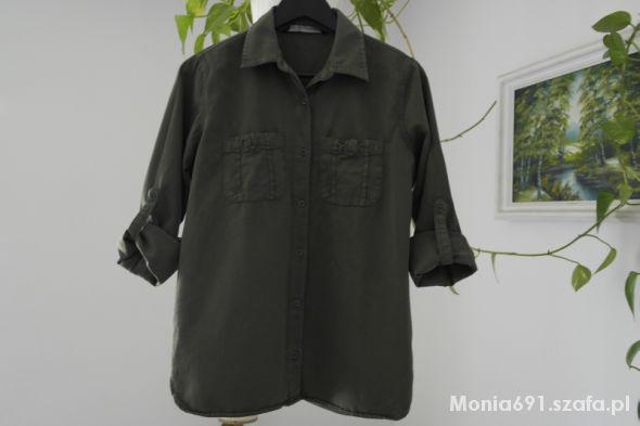 zara koszula khaki zielona oversize militarna 40 w Koszule