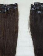włosy clip in ciemny brąz 50 cm 100 gram