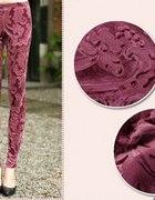 grube legginsy w tłoczone barokowe wzorki welurowe