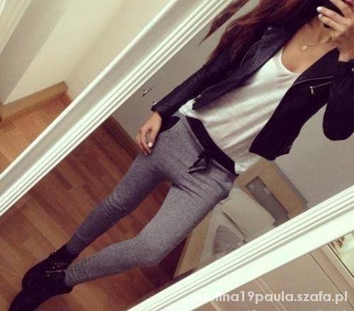 spodnie dresy szare rurki czarne kieszenie...