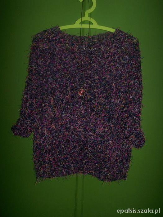 Ubrania włochaty sweter fluffy kolorowe nitki