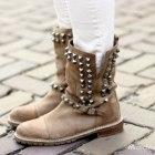 Botki Zara biker boots nude ćwieki