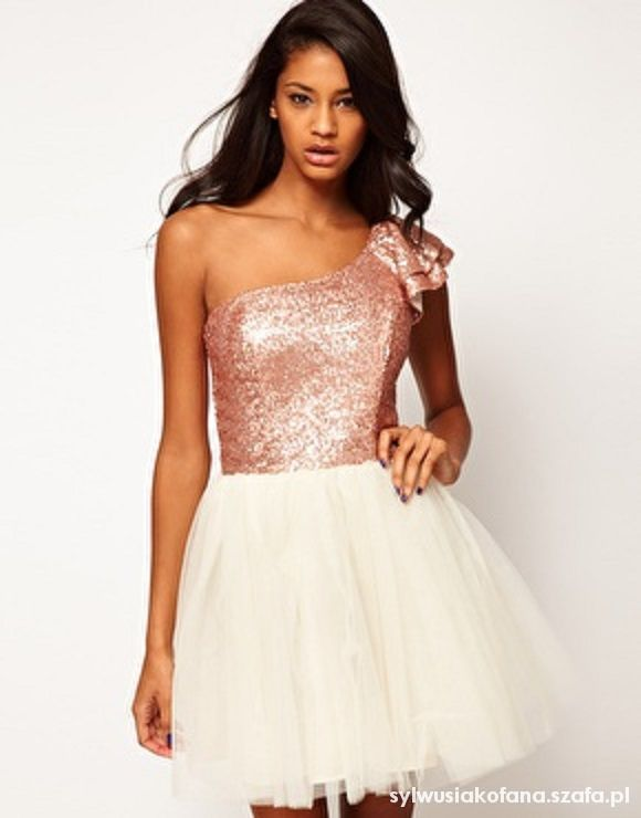 Na specjalne okazje ASOS Prom Dress with Sequin One Shoulder
