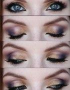 fioletowo złoty makijaż