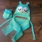 Czapka sowa rękawiczki i szalik