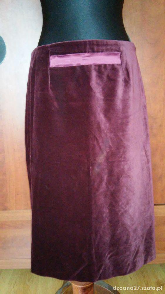 Spódnice Bordowa spódnica z aksamitu