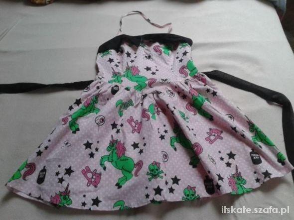 Ubrania sukienka hell bunny zombie unicorn jednorożce XS S