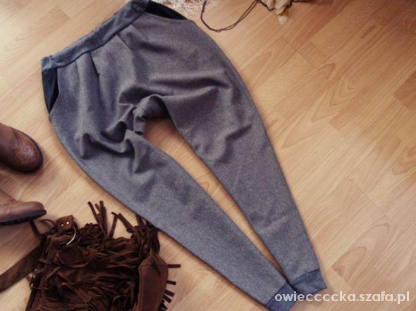 baggy pupmy spodnie rurki niski krok M L skora