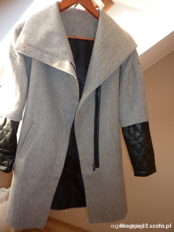 Płaszcz ZARA skórzane pikowane rekawy szary