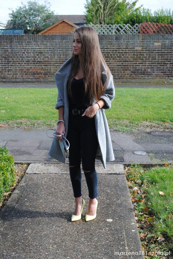 Mój styl Gray coat and lemon heels
