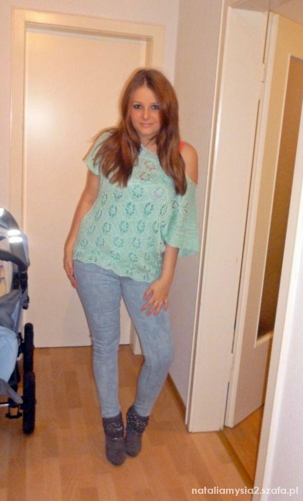 Imprezowe Jeansy H&M i miętowa bluzeczka