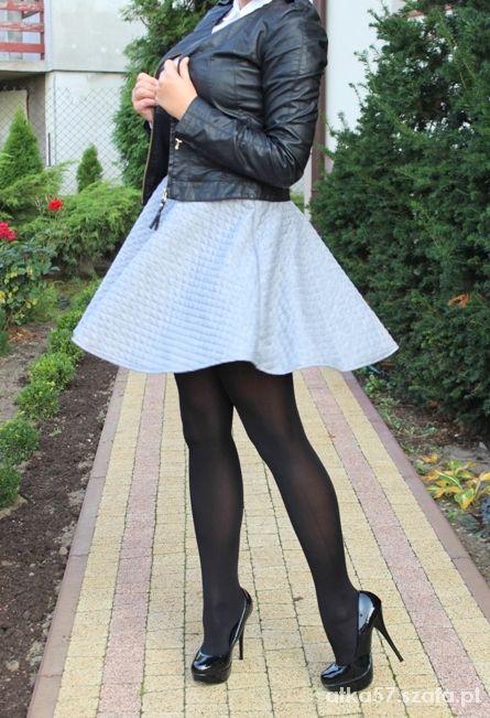 Spódnice gruba rozkloszowana pikowana szara spódnica 34XS