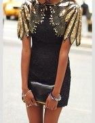 Sukienka czarna grafitowa Mocno zdobione ramiona