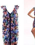 H&M sukienka kolorowa kwiatki falbanki 36 S