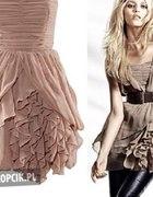 H&M Anja Rubik słynna sukienka z falbanami XS