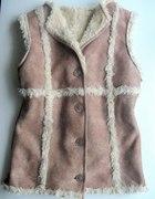 Kamizelka futrzana na kożuszku beżowa przeszycia S