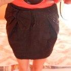 Czarna spódniczka mini bombka kokardka M