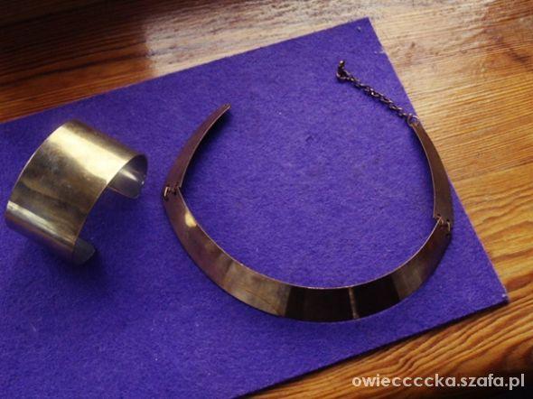 zestaw stare złoto bransoleta blacha naszyjnik