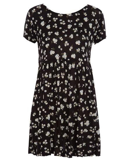 Czarna sukienka w stokrotki rozmiar M w Suknie i sukienki