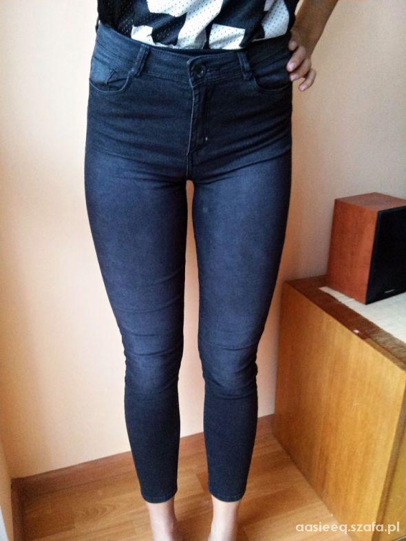 Spodnie Bershka wysoki stan elastyczne rurki XS S M
