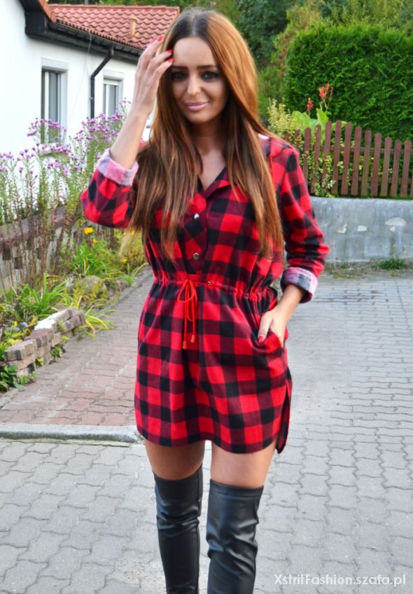 Koszula tunika w kratę czerwono czarna krata hit w Codzienne  Vpngl