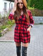 Koszula tunika w kratę czerwono czarna krata hit