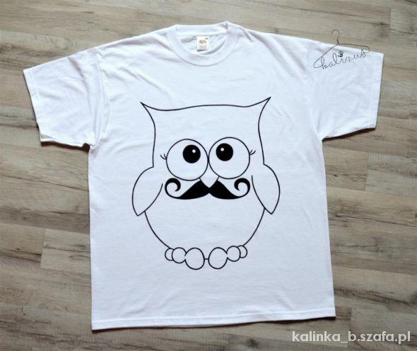 Tshirt biała koszulka z nadrukiem wąsatej sowy