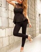 bluzka czarna z baskinką satyna koronka dekold