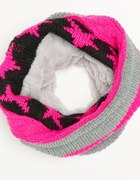 szalik komin kolorowy pink futerko